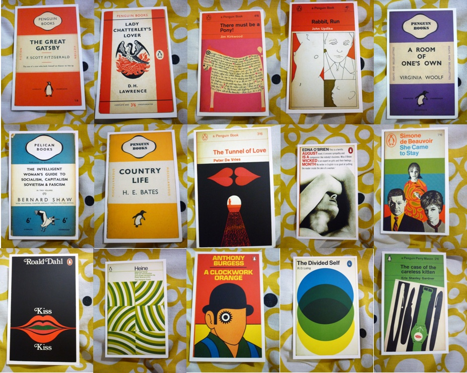 Penguin Book Cover Postcards : Lazy shopping penguin book covers stitching